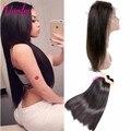 360 Lace Frontal With Bundle 7A Straight Weav Peruvian Virgin Hair Straight 3 Bundles With 360 Frontal With Bundles Lace Closure