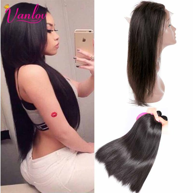 360 Lace Frontal With Bundle 7A Straight Weav Peruvian Virgin Hair Straight 3 Bundles With 360 Frontal With Bundles Lace Closure