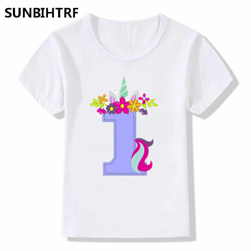 New Summer Tops Children T Shirts Fashion Funny Unicorn Happy Birthday Number Print Big Girls