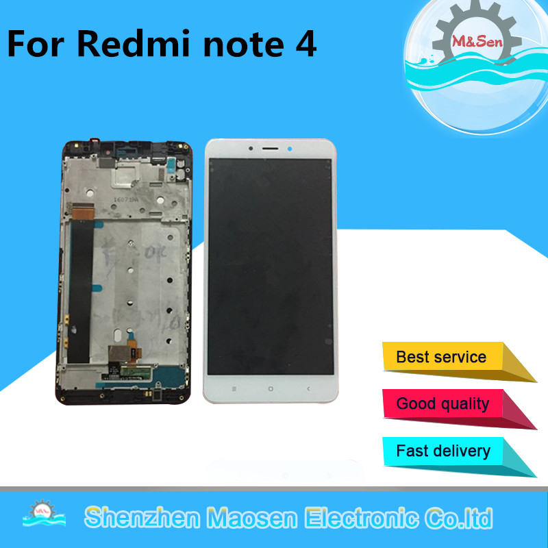 imágenes para M & Sen Para Xiaomi Redmi nota 4 nota 4 pro primer MTK Helio X20 pantalla LCD display + touch digitalizador con marco Envío gratuito
