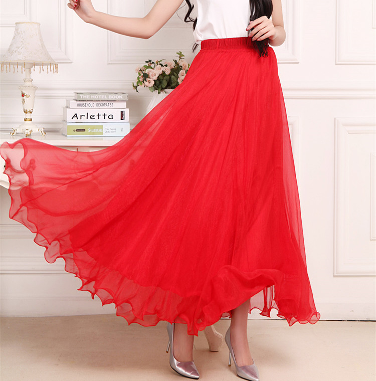 Sherhure 19 High Waist Women Chiffon Long Skirts Floor Length Ruffles White Summer Boho Maxi Skirt Saia Longa Faldas 32
