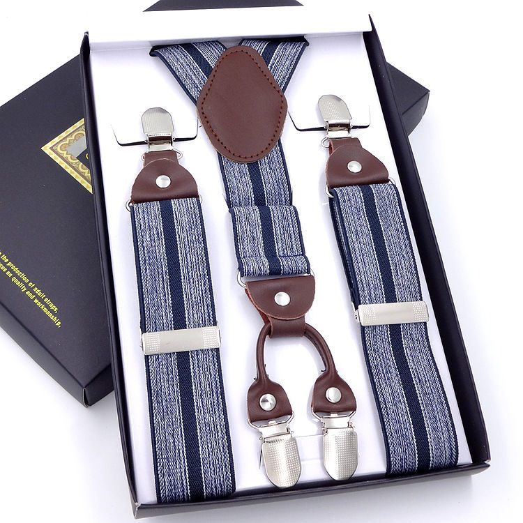 Fashion Men 4 Clips-on Braces Vintage Mens Suspender For Trousers Husband Male Suspensorio For Skirt 110cm