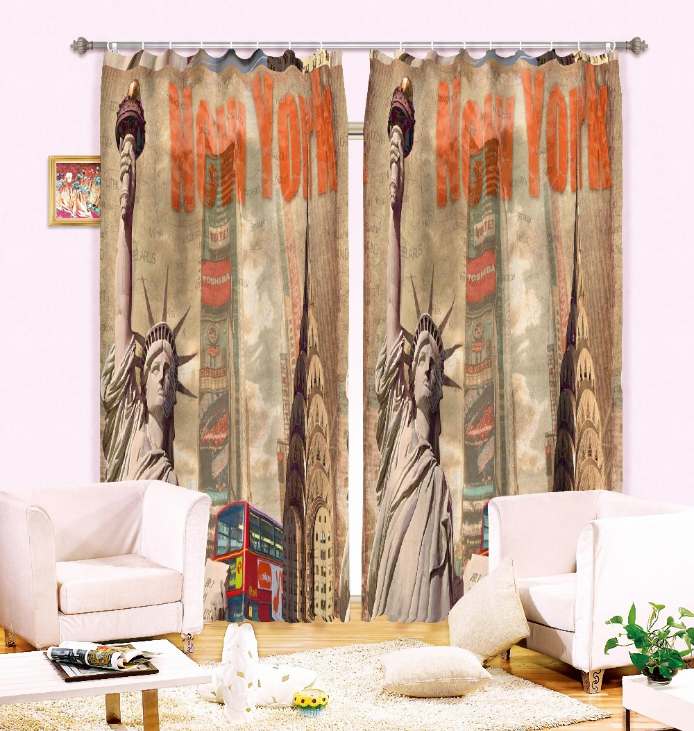MYRU Anticorrosive Metal Grommet New York Statue Of Liberty Blackout Curtains Bedroom And Living Room 3D