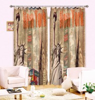 Anticorrosive Metal Grommet Creative Statue Of Liberty Blackout Curtains Bedroom And Living Room Curtains