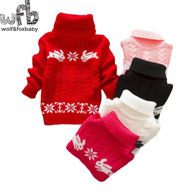 1-quatro anos de varejo coelho meninos meninas do bebê crianças criança Roupas de gola alta blusas de malha Vestuário Infantil primavera outono inverno queda