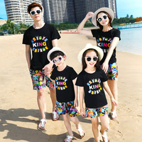 2018 Family Outfits Clothes Summer Family Look Mother Daughter Father Son Cotton T Shirt Shorts Sets