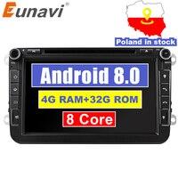 Eunavi 2din Android 8,0 Octa Core 4 GB Оперативная память автомобильный DVD для VW Passat CC Polo GOLF 5 6 блок EOS T5 Sharan Jetta Tiguan с GPS и RADIO BT