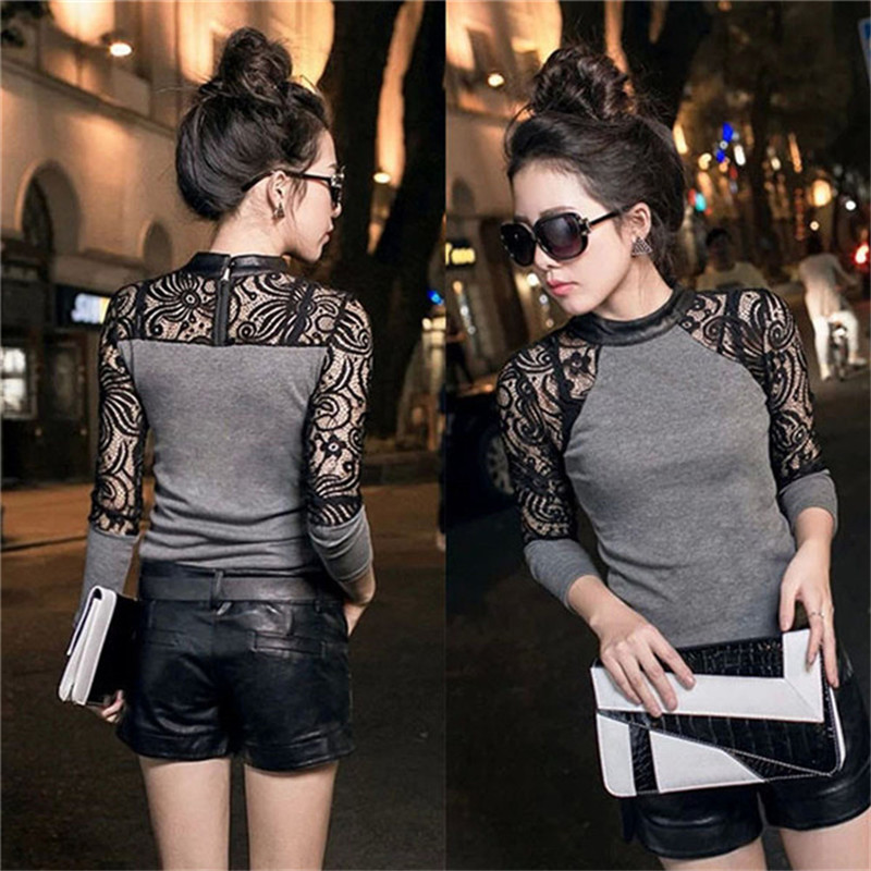 LOWEST PRICE Lady Women Lace Long Sleeve Shirt Slim Knitwear Leather Crew Neck Tops
