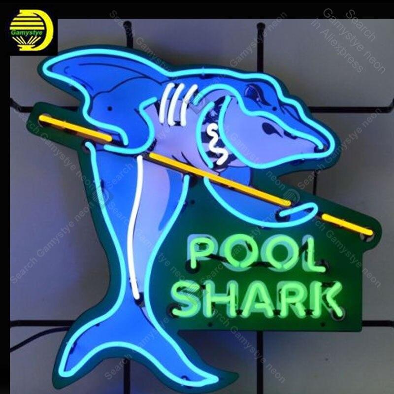 Néon Signe pour Piscine Requin Signe Décorer la chambre mur Handcrafted Neon lumières Signe verre Tube Emblématique de La Publicité Personnalisés peinture conseil