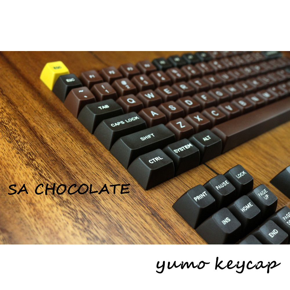 Chocolate  Etched Laser Coloring fonts 122 Key SA PBT Keycaps Cherry MX switch keycaps for Wired USB Mechanical Gaming keyboard