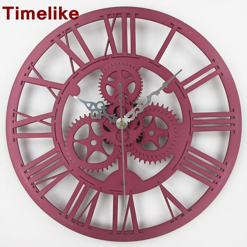 handmade oversized retro rustic decorative luxury art big 3d vintage gear wall clock gear vintage