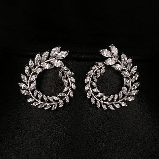 Emmaya Women Stud Earrings High Quality AAA Clear Color Cubic Zirconia Stone Flower Earrings 2