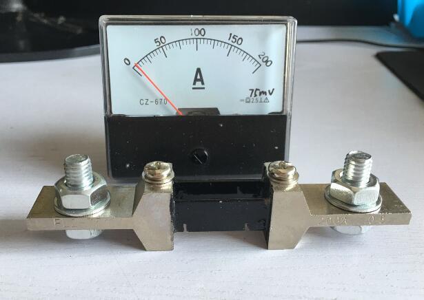 Amperímetro tipo Ponteiro Medidor de Corrente Painel + Shunt Analógico Painel Dh-670 dc 0-200a Amp