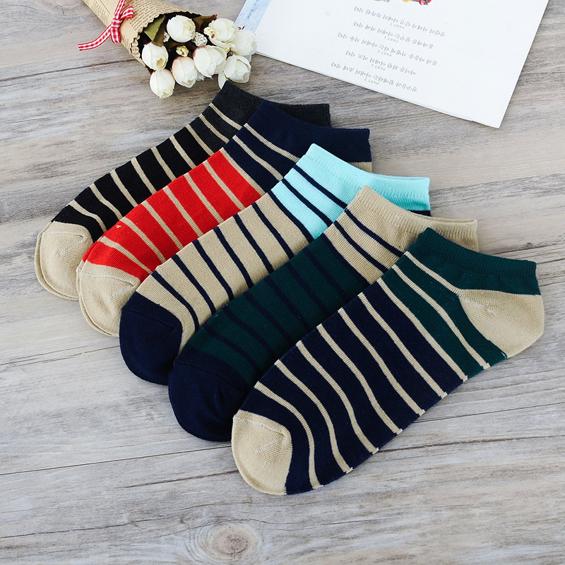 10 Pair /lot 5 Color Fashion New Casual Mens Summer Socks Stripe Stitching Colors Design ...