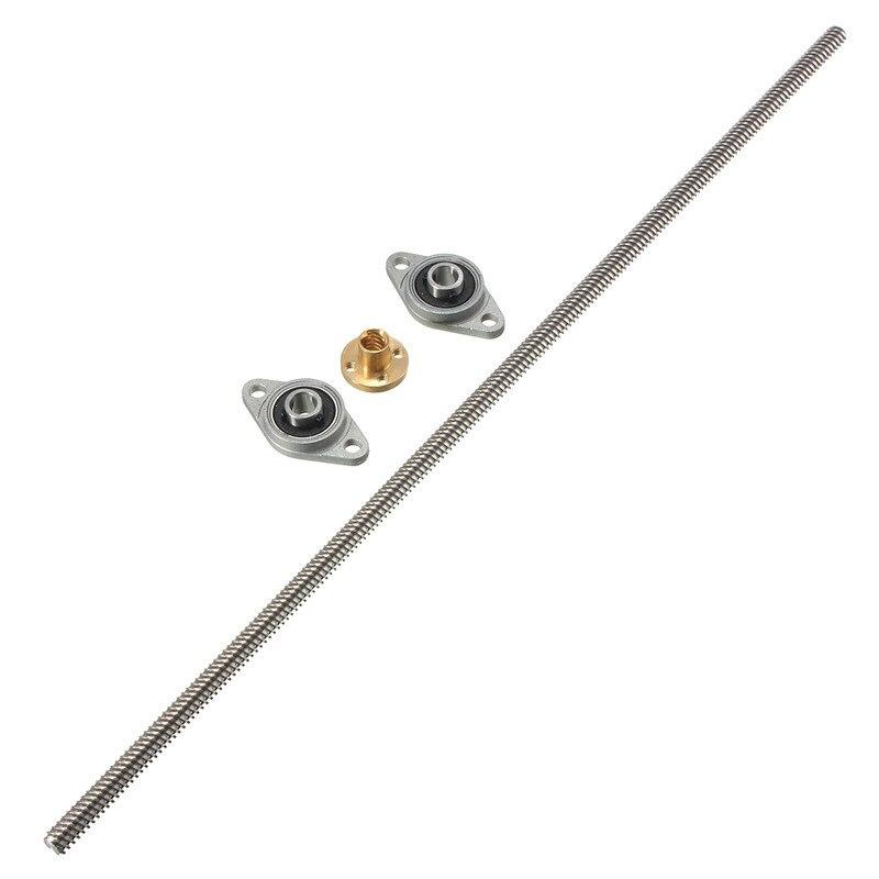 NEW T8 400mm Lead Screw 8mm Thread Lead Screw Brass Nut 2KFL08 bearing Bracket Coupling 3D