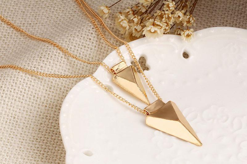 Necklaces Pendants Two Layer Arrow Chokers Nacklaces Gold For Woman Chain Statement Kolye Bayan Necklace 18JUN8
