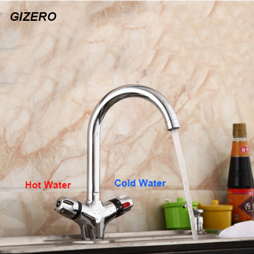 GIZERO Thermostatic Kitchen Swivel Faucet Temperature Control Deck Mounted Thermostatic Taps torneira crane ZR981GIZERO Thermostatic Kitchen Swivel Faucet Temperature Control Deck Mounted Thermostatic Taps torneira crane ZR981