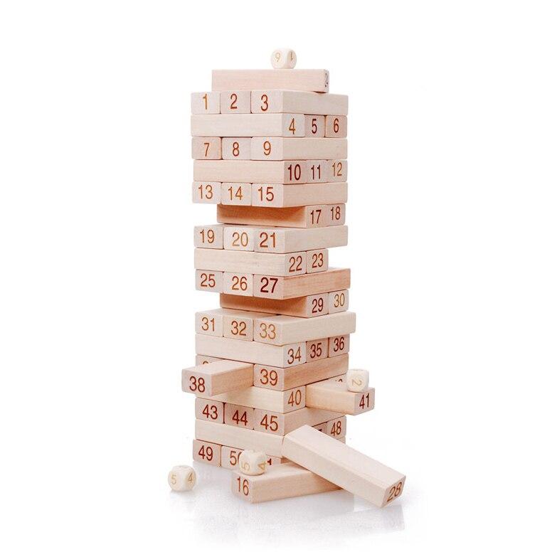 Chanycore Bébé D'apprentissage Éducatifs En Bois Jouets Jenga Blocs Domino 51 pcs mwz Forme Géométrique Montessori Enfants Cadeaux 4147