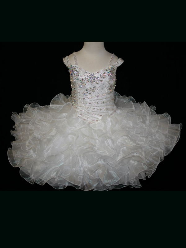 Little Rosie Ball Gown Flower Girl Dresses With Off The Shoulder Beaded Sequin Organza Short Pageant Dresses Zipper Up