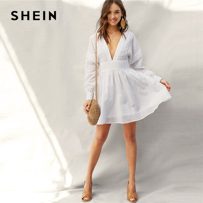 2cd6e2156fe8 [HOT DEAL] US $43.64 for SHEIN Lady Sexy Guipure Lace Dot Jacquard Knot  Backless Deep V Neck Mini Dress Women Spring Boho Fit and Flare Midi Dress