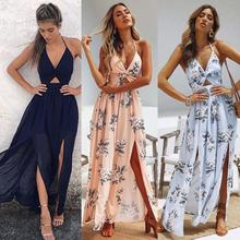2019 Womens Summer Boho Maxi Long Dress Evening Party Beach Dresses Sundress Floral Halter