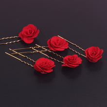 1 PC Vintage Chinese Red Rose Flower Bridesmaid Hair Pin Clips Sticks Wedding Hairpins Bridal Hair Ornament Accessories Jewelry