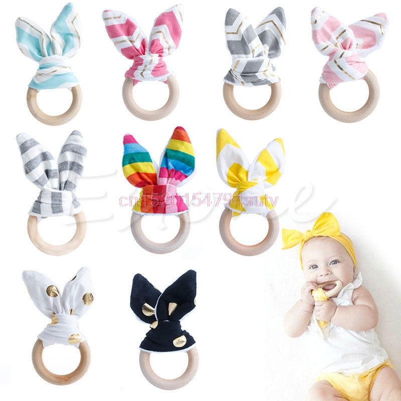 Baby Teething Ring Chewie Teether Safety Wooden Natural Bunny Sensory Toy Gift #h055#