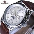 Forsining top marca de luxo relógio mecânico automático multifuncional relógio pulseira de couro genuíno dos homens relógios reloj 2017 novo