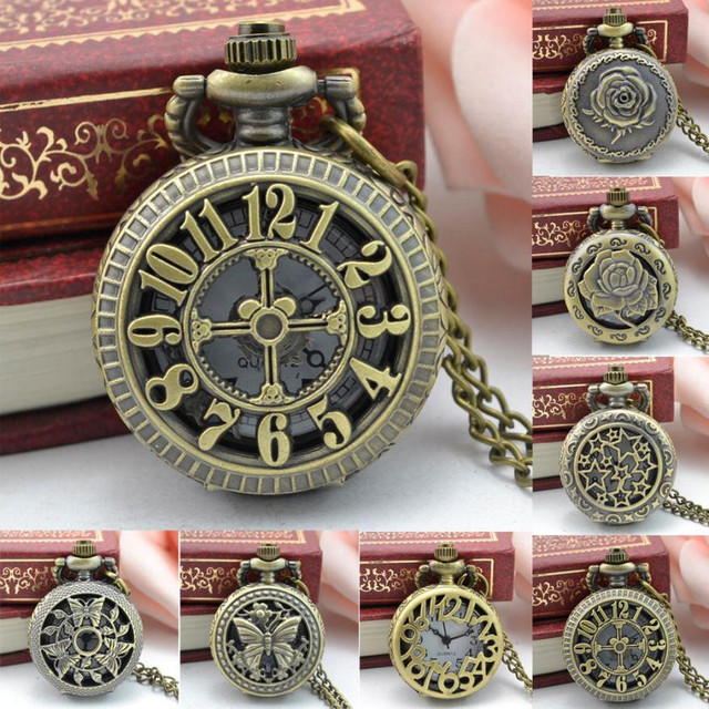 2017 NEW Vintage Steampunk Retro Bronze Design Pocket Watch Quartz Pendant Neckl