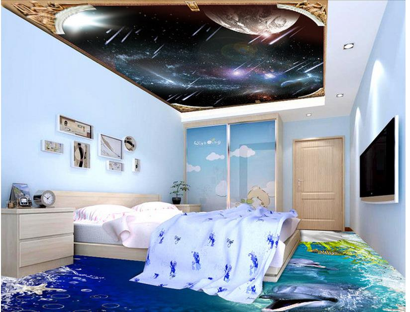 3d personnalisé papier peint décoration de la maison météore ciel plafond peintures murales 3d plafond peintures murales papier peint