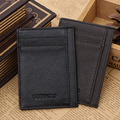 Men's Solid Genuine Leather Wallet Slim Money Clip Wallet Card Slots and Id Case Front Pocket Credit Card Money Bag Wallet