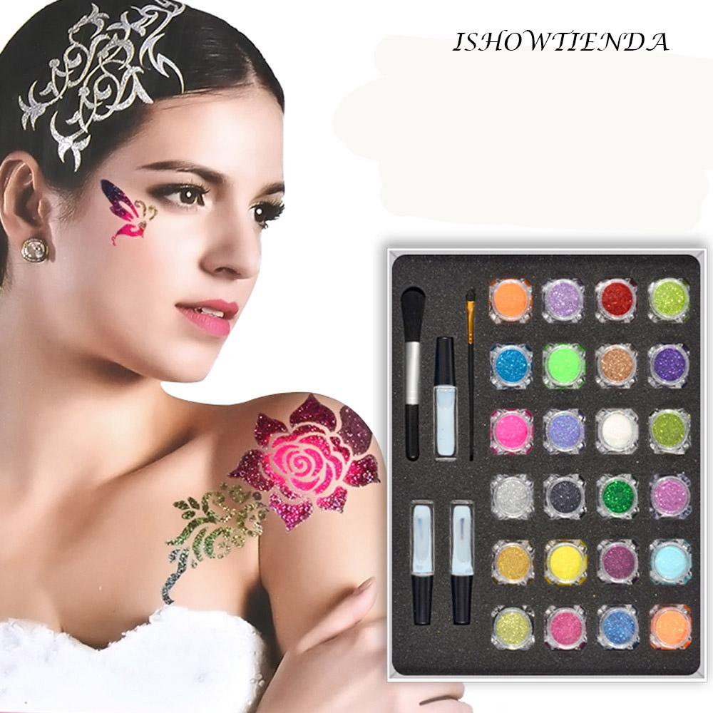 3D Colorful Waterproof Pattern Painted Diamond Glitter Tattoo Powder Temporary body painting Kit Brushes Glue Tattoo Stencils#10 iarts aha072962 hand painted thick texture of knife painting trees oil painting red 60 x 40cm
