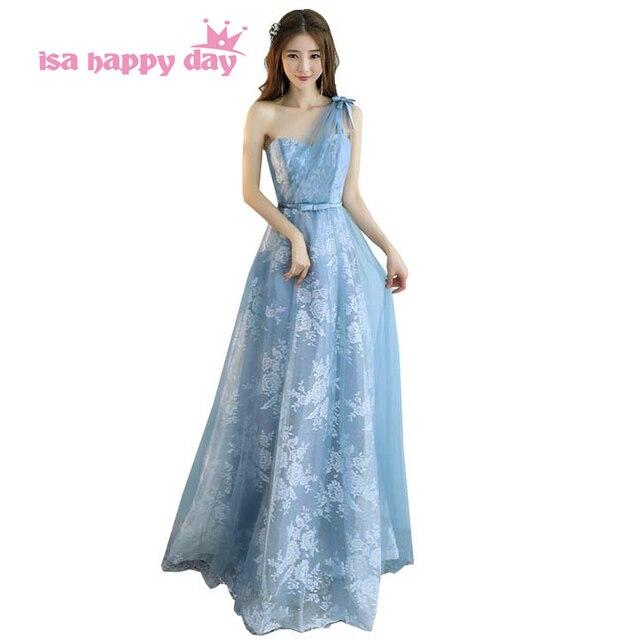 Estilo moderno país azul formal vestido de dama vestido de renda ...