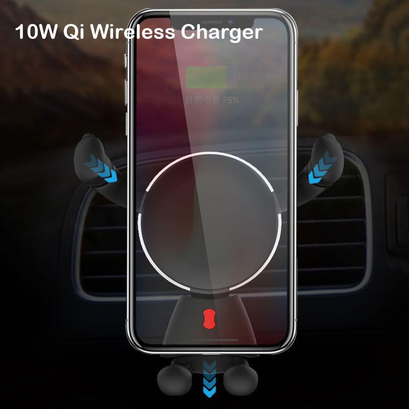 10W Qi Wireless Car Charger Phone Holder For iPhone Xs Max Xr 8 Plus Fast Car Mount Wireless Charging For Samsung S9 S10 NOTE9 in Phone Holders Stands from Cellphones Telecommunications
