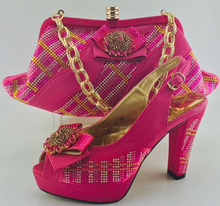 Italian Shoes With Matching Bags For Party African Shoes And Bags Set With Stones For Wedding Fashion Woman Shoes ME6606