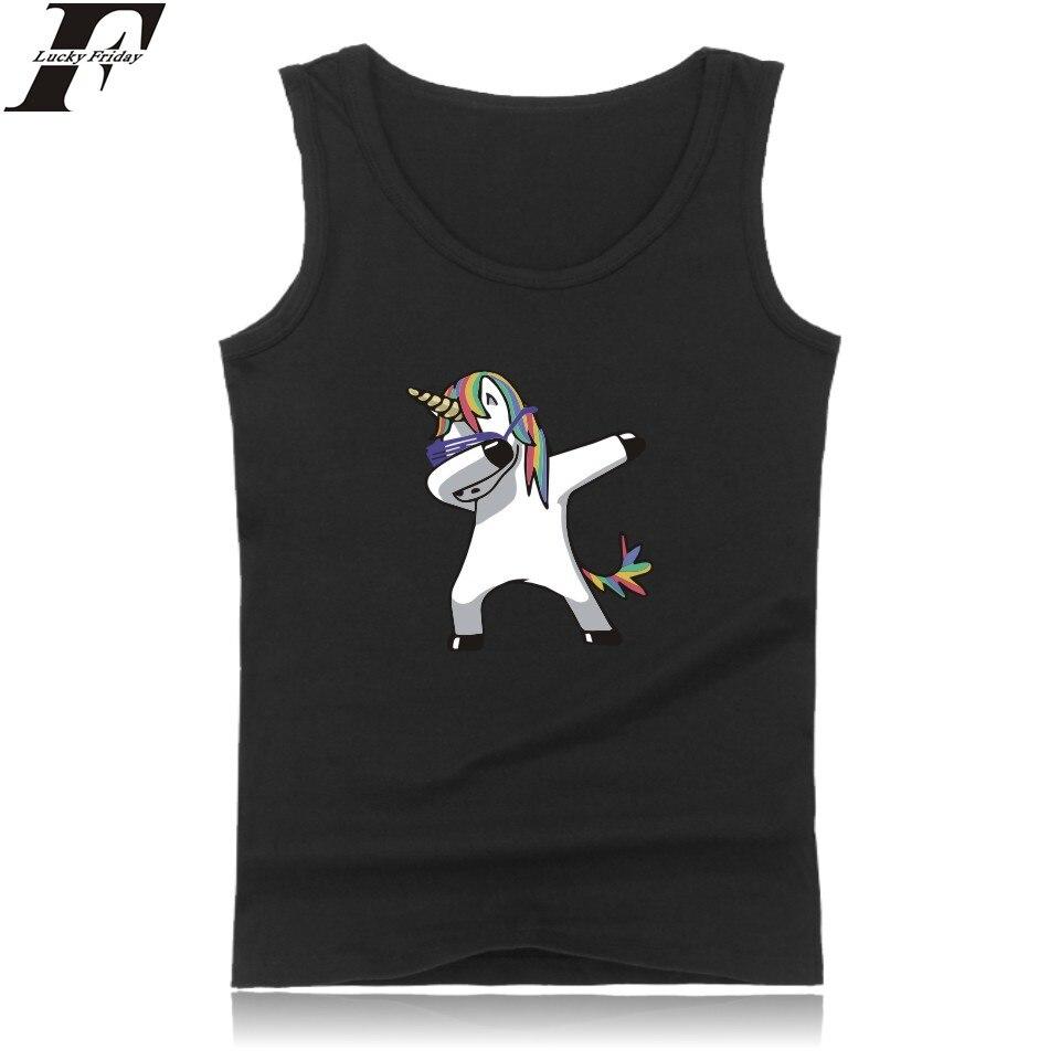 LUCKYFRIDAYF Funny Animal Bodybuilding   Tank     Tops   Men Black Unicorn Sleeveless   Tank     Top   Men Cotton Fashion Black Casual Vest 4XL