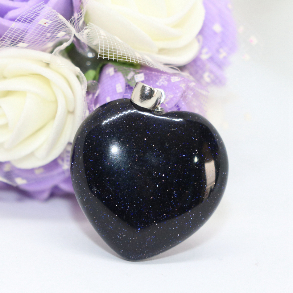Fashion blue sandstone heart shaper pendant fit for diy necklace drop jewelry wholesale hot sale accessories jewelry 2pcs B1839