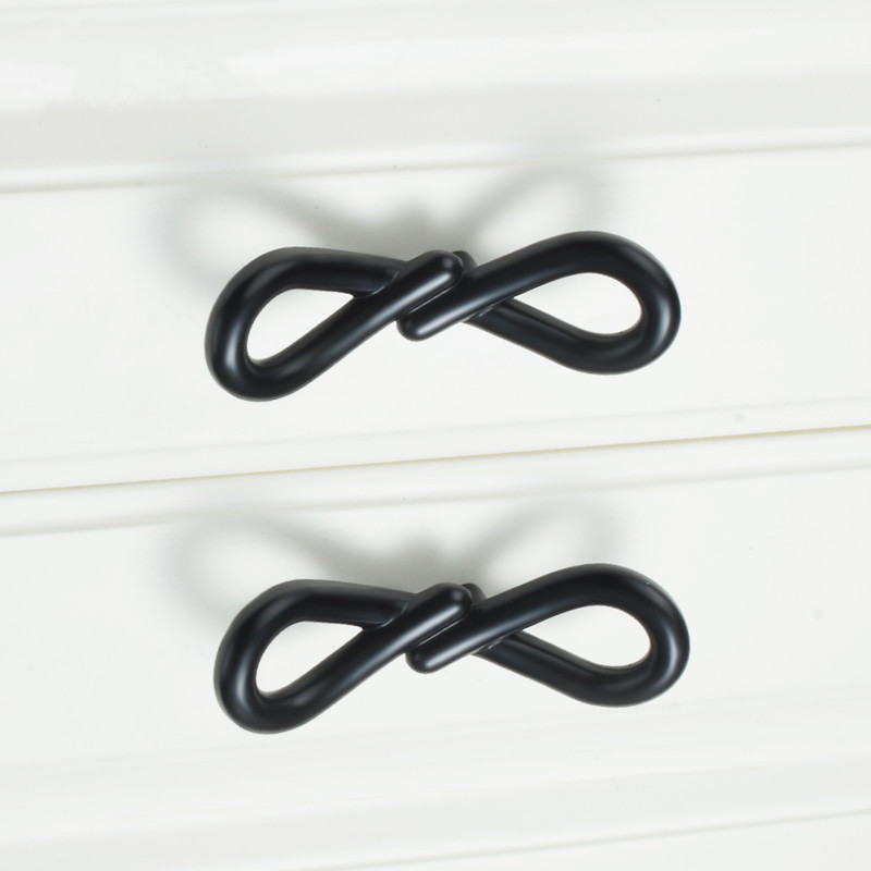 Black Bow Design Furniture Handles Drawers Cupboard Door Handles For Kinds Of Furniture Handles Decorative