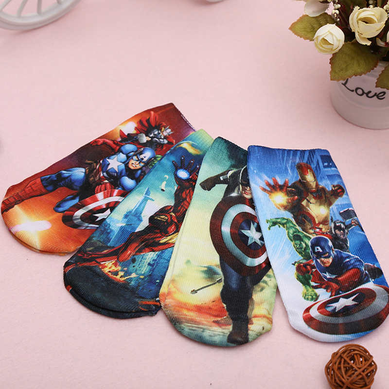 1pc Random Cotton Socks Print Cartoon Elsa Ironman Cute Cat Boys Girls Kids Children Spring Autumn Breathable Kids Clothing