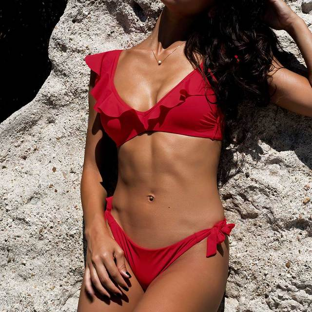 4c0cd5ae37 Bandgae Swimsuit Beachwear Sexy Red Ruffle Bikini Set Biquini 2019 Plus  Size Swimwear Women Mini Micro Bikini Bathing Suit NEW