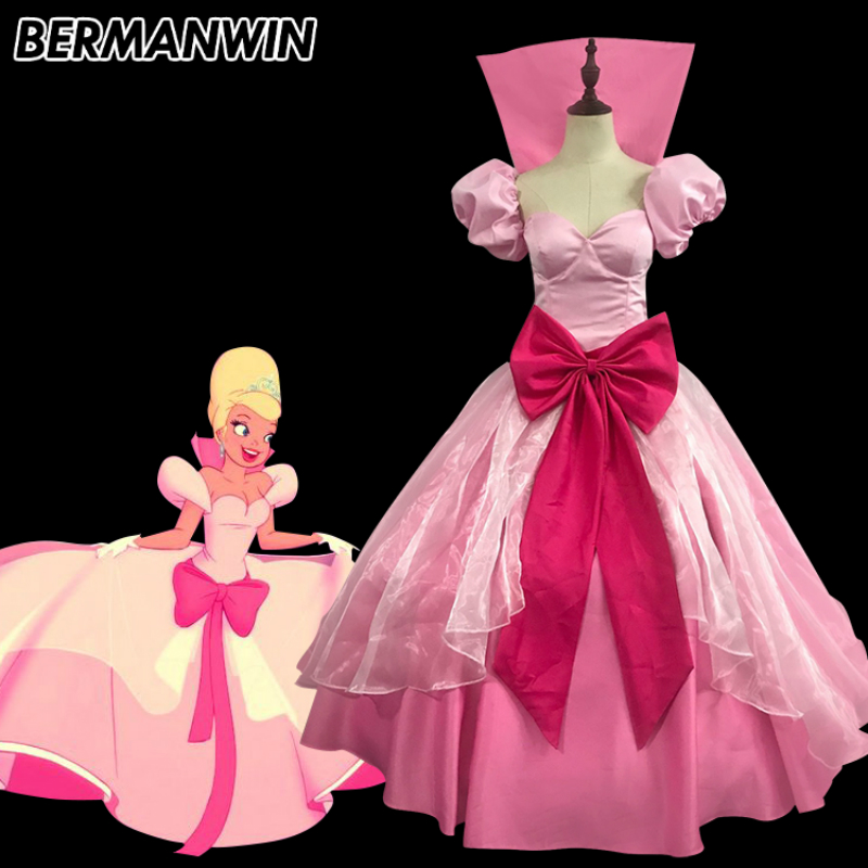 BERMANWIN High Quality The Princess and the Frog princess dress adult women Lottie Charlotte costume Halloween Cosplay Costume