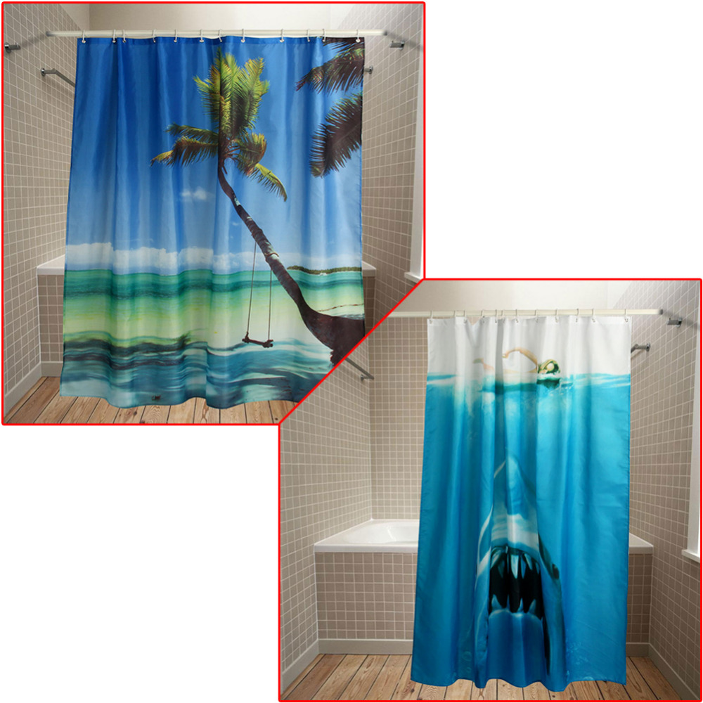 Ocean shower curtain - 180 180cm 3d Shower Curtain Ocean Scenery Printing Polyester Bathroom Curtain With Hooks 2017