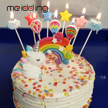 MEIDDING Rainbow Unicorn Cake Topper Birthday Party Kids Favors Cloud Flags Balloon Wedding Dessert Table Decor