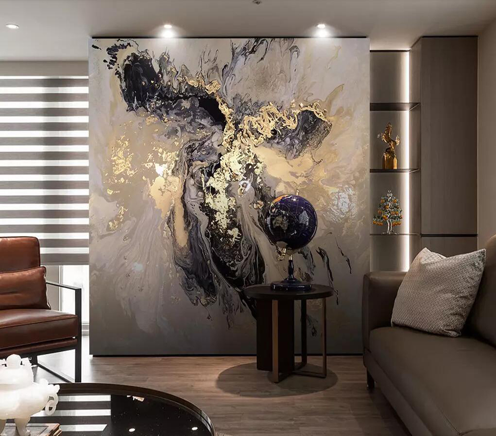 Chinese Abstract Custom Golden Yellow Landscape Artistic Mood Splash Ink Mural Wallpaper Background Wall Decoration