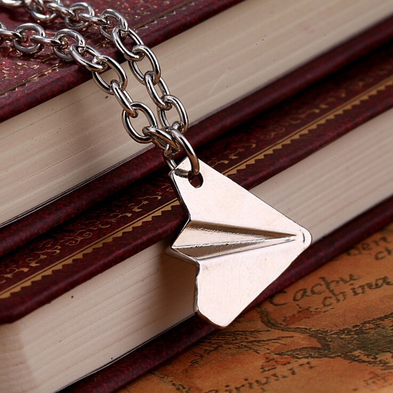 One Direction Origami Plane necklaces black Gold silver plated necklace aircraft Airplane harry Styles jewelry image