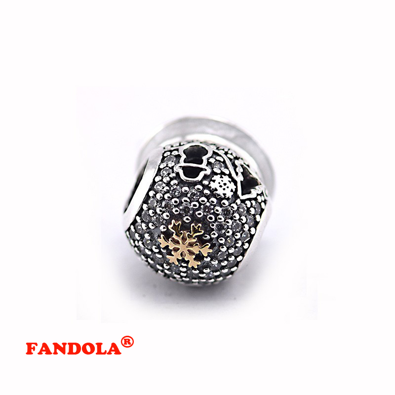 Fits for Pandora Charms Bracelets Black Friday Beads with 14K Real Gold 100% 925 Sterling Silver Jewelry Free Shipping