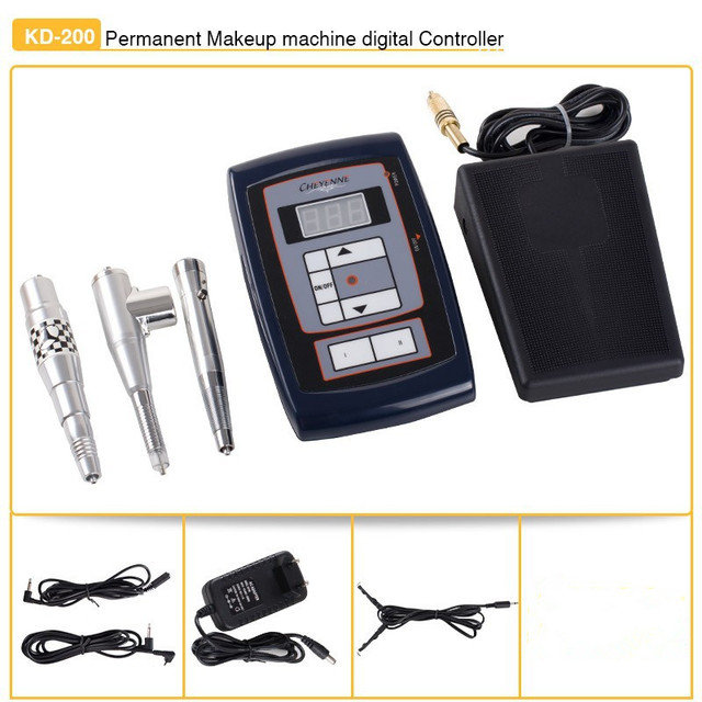 Wholesale permanent  tattoo machine pen kit with 3 makeup pen intelligent eyebrow lip tattoo permanent  power supply kit