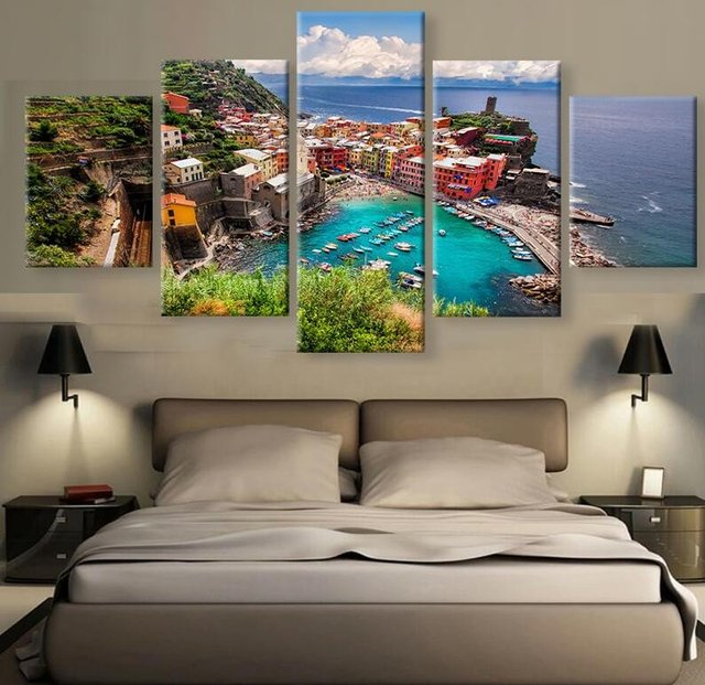 Hd 5 Piece Beautiful Village In Italy Modern For Home Decor Paintings On Canvas Wall Art Decorations Artwork