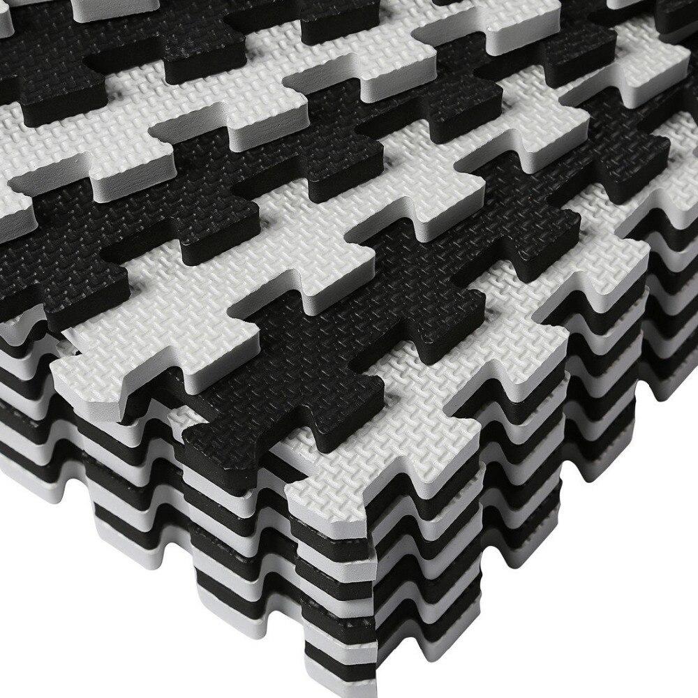 Tapis de Puzzle Meitoku Baby EVA en mousse, tapis de sol noir blanc à emboîtement, tapis de 25 carreaux pour enfants. Chaque bord libre de 32x32 cm. - 3