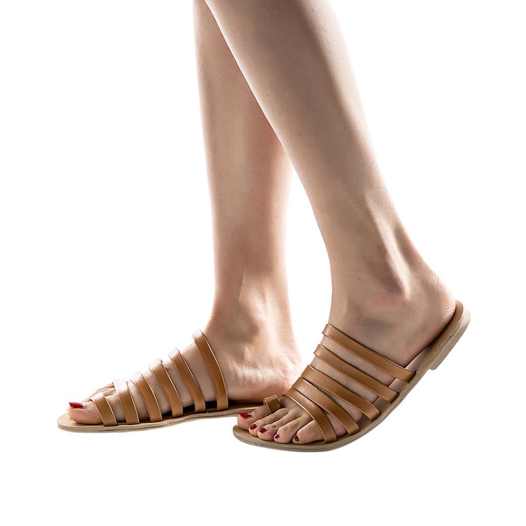 Women Flat Sandals Summer 2019 Gladiator Sandals Ladies Strap Slippers Roman Female Flip Flops Outdoor Casual Sandales Femme